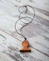 handmade long necklace images Handmade long necklace with fish design wood olive tree pendant jpg