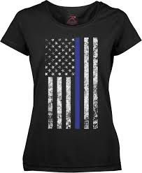 Thin Blue Line Flag Black Thin Blue Line Support Police Distressed Us Flag T Shirt