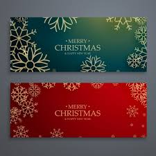 merry christmas banner christmas banners with golden snowflakes vector free