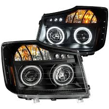 Nissan Titan Grill Amazon Com Anzousa 111178 Black Clear Amber Projector Halo Led