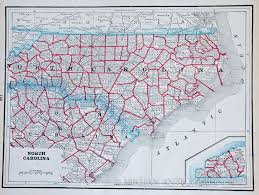 North Carolina Map Map Of North And South Carolina 1893