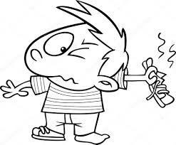 vector of a cartoon boy holding out a smelly shoe outlined