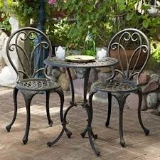 Aluminum Bistro Table And Chairs Cast Iron Patio Furniture Sets Foter