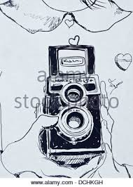 drawing of a holding a twin reflex camera stock photo