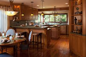 Wooden Kitchen by Classy Brown Color Wooden Kitchen Cabinets Featuring Wall Mounted
