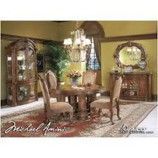 T Aico Furniture Monte Carlo Pecan Round Dining Table - Monte carlo dining room set