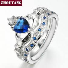 crown wedding rings holding the sapphire heart aaa cz diamond crown wedding ring
