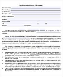 Landscape Maintenance Contract by Maintenance Agreement Templates 9 Free Sample Example Format