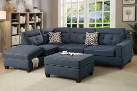 Sofa Ottoman Set Poundex F6523 Blue Fabric 3pc Reversible Chaise Sectional