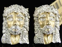 10k earrings 10k yellow gold 20 mm diamond pave jesus stud earrings