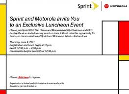 lunch invites sprint and motorola invites the media to a special luncheon event