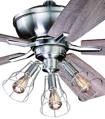 Ceiling Fan With Cage Light 52 Edison Stainless Ceiling Fan W Industrial Cage Light