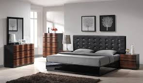 Bedroom Design Panda Gray Bedding On The Black Wooden Bed Plus Brown Wooden Side Table