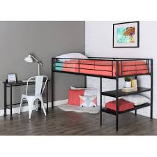 black metal twin loft bed with desk licious twin metal loft with desk and shelving black walmart cheap