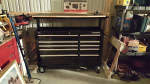 Tool Box Top Hutch Husky 52 Inch Adjustable Top Mobile Workbench Toolbox Review Youtube