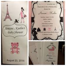 my daughters paris theme baby shower program invitation and