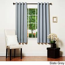 Slate Grey Curtains Home Grommet Top Thermal Insulated Blackout 64 Inch Curtain