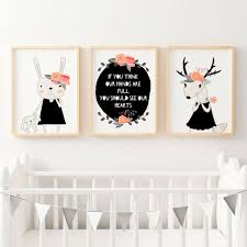 baby girls floral woodland nursery or bedroom wall art print set