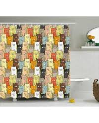 amazing deal on cats shower curtain funny cute colorful graphic