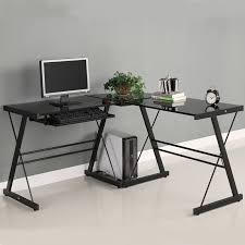 walker edison 3 piece soreno desk black with black glass d51b29