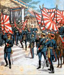 japanese emperor meiji giving flags to his troops russo japanese