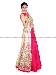 Pink Colour by Winsome Cream And Pink Colour Wedding Designer Gown Pwriw10044