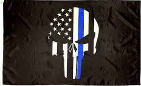 Subdued American Flag With Thin Blue Line Police Punisher Skull Thin Blue Line Flag 3x5 I Americas Flags