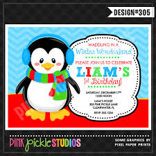 chilly penguin personalized invitation