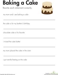 fix the sentences baking a cake the sentence writing