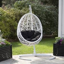 island bay resin wicker blanca hanging egg chair with cushion color option and stand hayneedle