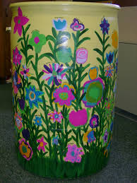 rain barrel with flowers class auction projects pinterest