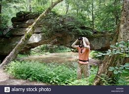 Red River Gorge Map Woman Birdwatcher At Red River Gorge In Daniel Boone National