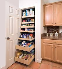 white concrete kitchen pantry cabinet with 7 pull out shelves and