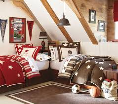 handsome image of cool barn house shared bedroom decoration using