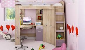 lit avec bureau coulissant lit en hauteur combiné avec bureau armoire et rangement intégré