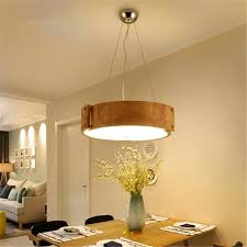 Led Bedroom Ceiling Lights Nordic Circular Solid Wood Dining Room Lights Creative Personality
