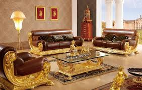 Gold Sofa Living Room Luxury Brown Gold Sofa Furniture For Italia Style Living Room Gold