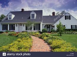 Cape Code Style House Cape Cod Style House And Entrance Flower Garden With Welcoming