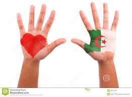 Algerian Flag African Hands With A Painted Heart And Algerian Flag I Love Alg