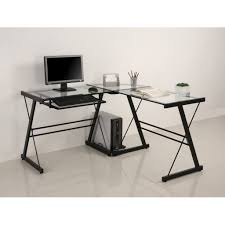 black brushed stainless steel leg computer desk using glass glass