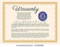orange formal warranty certificate template complex stock vector