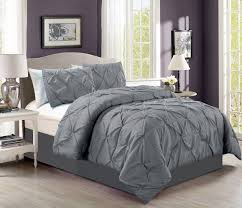 Gray Down Comforter Amazon Com 4 Pieces Solid Grey Pinch Pleat Goose Down Alternative