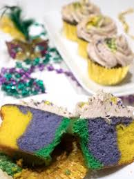 mardi gras cupcakes with cinnamon buttercream frosting the pudge