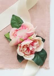 pink corsage pink cabbage wrist corsage silk wedding flowers afloral