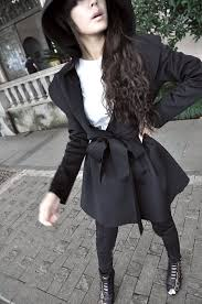 european styles cheap long sleeves black imitation wool long trench with belt