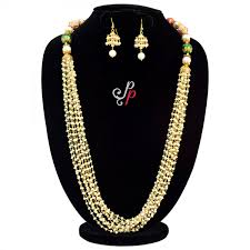 pearls necklace set jewellery images Beautiful long pearl necklace set in 10 lines taar malas jpg