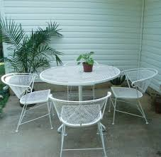 Vintage Wrought Iron Patio Furniture by Vtg Wrought Iron Patio Set Table 4 Chairs Metal Eames Mid Century