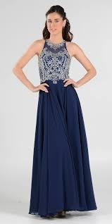 rhinestone embellished bodice a line long formal dress navy blue
