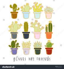 big set cute cartoon cactus succulents stock vector 482377030