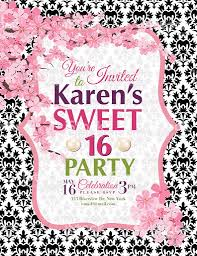 cherry blossoms sweet 16 birthday party invitation template stock
